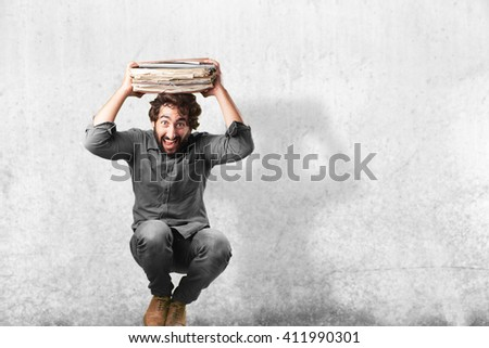 crazy man jumping. surprised expression - stock photo