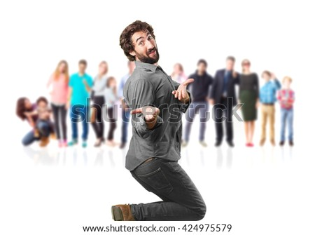 crazy man jumping. surprised expression
