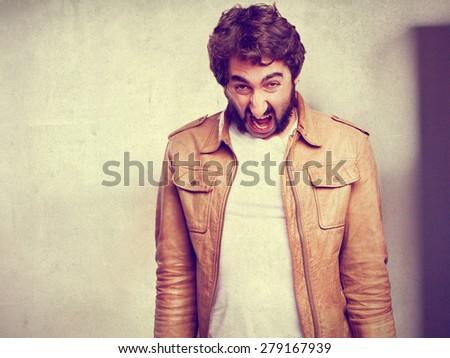 crazy man shouting - stock photo