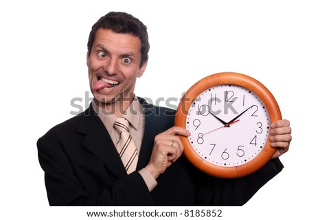 crazy man with clock (focus on the clock) - stock photo