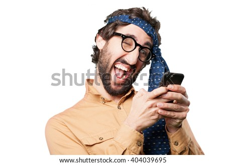 crazy man with mobile phone.funny expression - stock photo