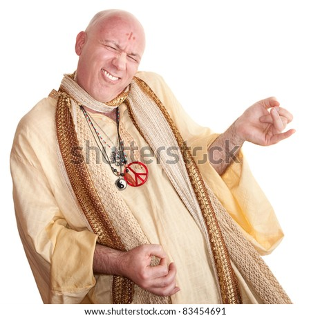 Crazy monk plays air guitar over white background - stock photo