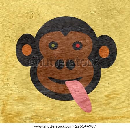 crazy monkey design with wood grain texture - stock photo