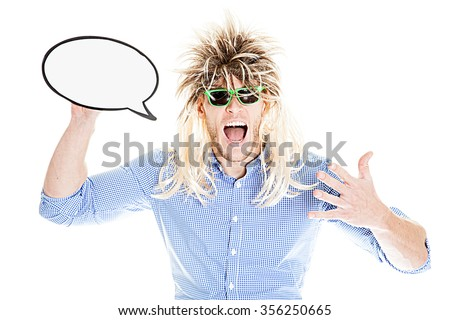 Crazy Mullet Man with sunglasses and speech bubble - stock photo