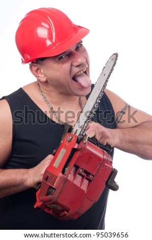 Crazy or mad lumberjack licks the blade of dirty electric saw isolated on white - stock photo
