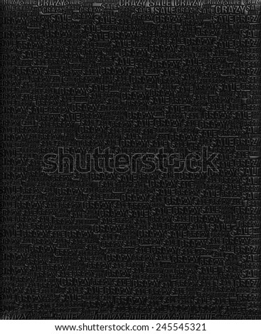 Crazy Sale text Black metallic 3D background template. - stock photo