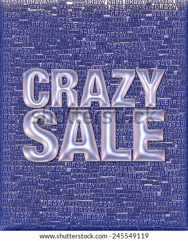 Crazy Sale text in 3D pearl metallic on same text background template. - stock photo