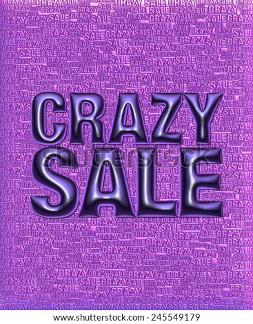 Crazy Sale text in 3D violet metallic on same text background template. - stock photo