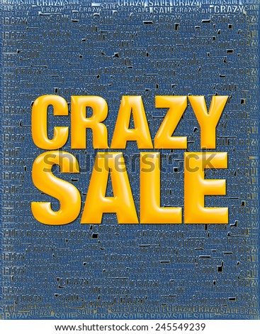 Crazy Sale text in 3D yellow metallic on same text background template. - stock photo