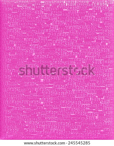 Crazy Sale text purple magenta metallic 3D background template. - stock photo
