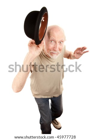 Crazy Senior Dance Man Tipping Bowler hat - stock photo