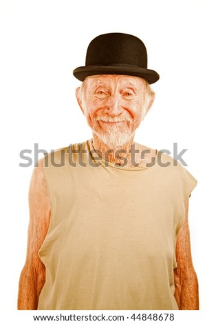 Crazy senior man in bowler hat on white background - stock photo