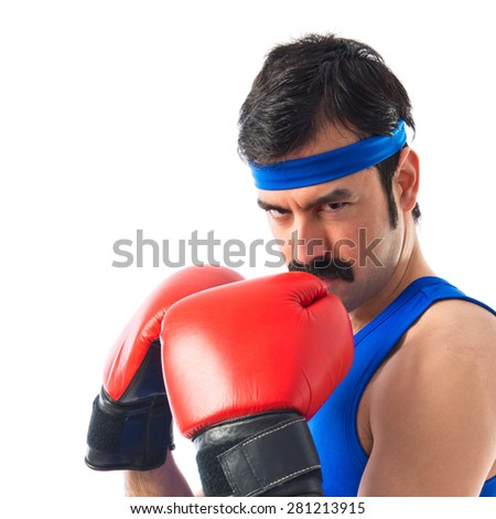 Crazy sportman with boxing gloves
