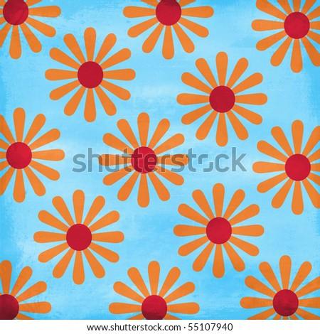 Crazy Summer Textured Flower Pattern Background - stock photo