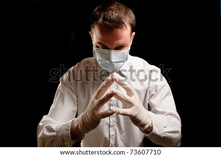 crazy surgeon - stock photo