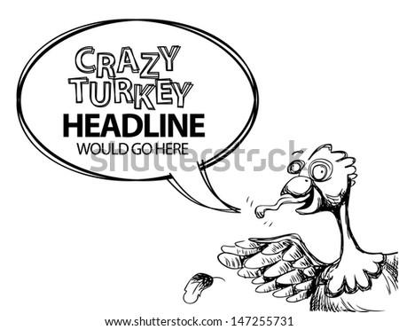 Crazy talking turkey hand drawn cartoon. jpg - stock photo
