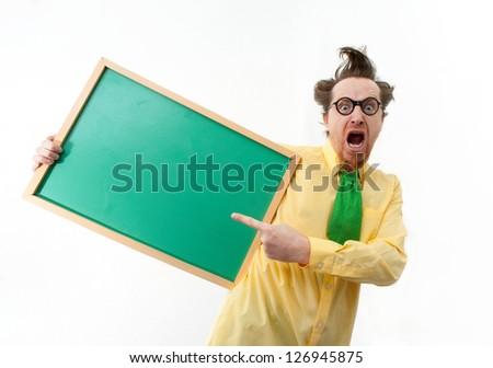 Crazy teacher with the blackboard - stock photo