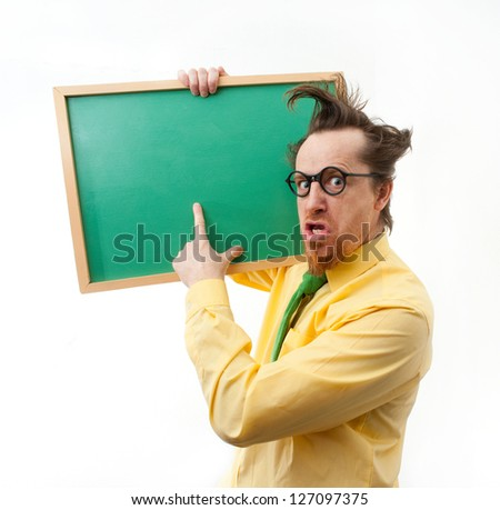 Crazy teacher with the blackboard - stock photo