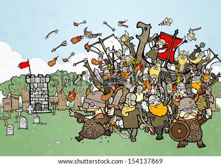 crazy vikings raiding illustration - stock photo