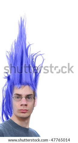 Crazy wacky young male Caucasian adult with purple hair that stands straight up - stock photo