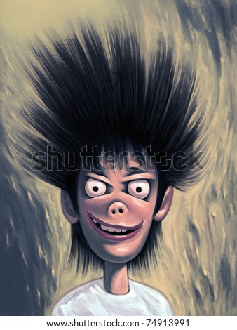 Crazy weird guy with wild hairstyle posing. Looking at you with widely opened round eyes and queer smile - stock photo