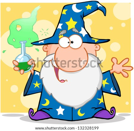 Crazy Wizard Holding A Magic Potion. Raster Illustration.Vector Version Also Available In Portfolio. - stock photo
