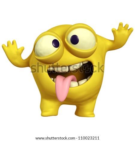 crazy yellow monster - stock photo