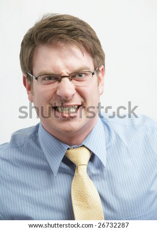 Crazy young caucasian businessman full of energy - stock photo