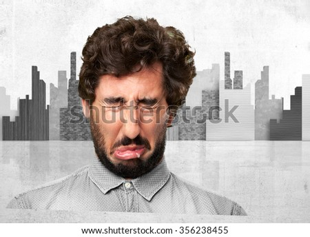 crazy young man crying - stock photo