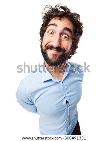 crazy young man happy concep - stock photo