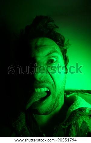 crazy young man, portrait shoot, - stock photo