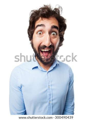 crazy young man shouting - stock photo