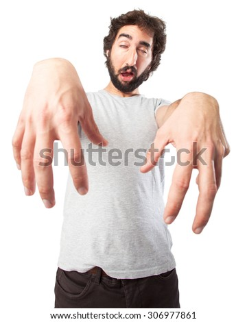 crazy young man zombie pose - stock photo