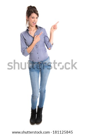 Crazy young woman presenting with her hands - full body. - stock photo
