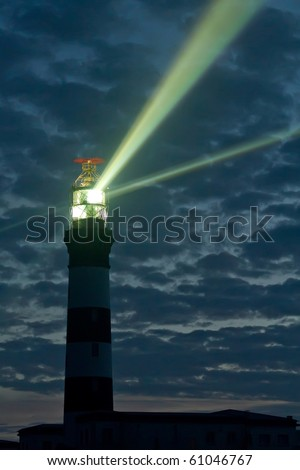 "creac""h lighthouse at night on ouessant island, brittany, france"