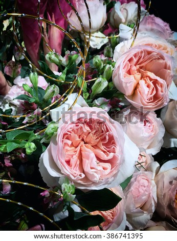 Cream and coral flower arrangement background - stock photo