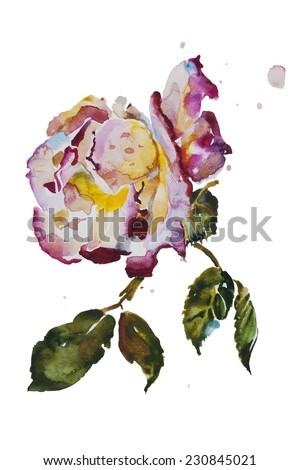 Cream and purple rose with leaves with grunge spots original watercolor art - stock photo