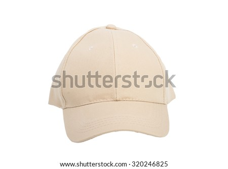 Cream Baseball Hat Isolated on Over White Background