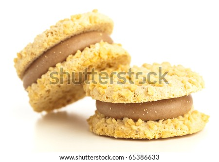 cream biscuits isolated on a white background - stock photo