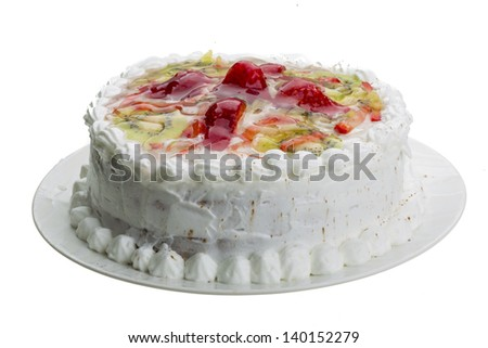 Cream cake with strawberry - stock photo
