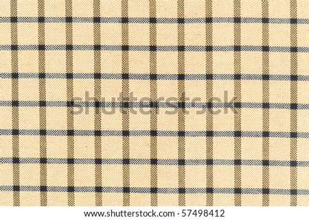 Cream checkered pattern fabric - stock photo