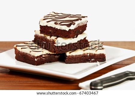 Cream Cheese Iced Brownie - stock photo