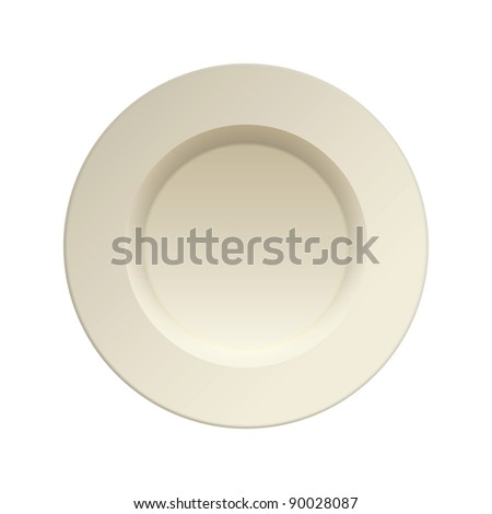 Cream china plate for dinner service clean - stock photo