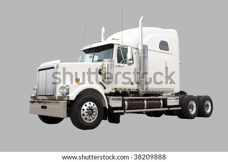 Cream colored transport truck isolated on grey with clipping path included - stock photo