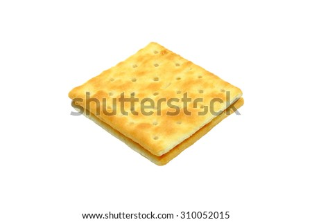 Cream Crackers biscuit isolated on white background.  Slightly defocused and close-up shot.  - stock photo