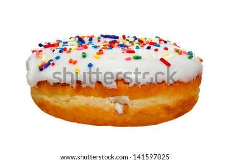 Cream Donut with Sprinkles Isolated on White Background - stock photo
