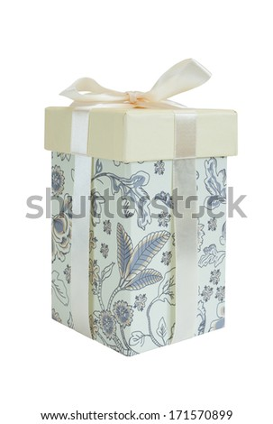 cream gift box with bow - stock photo