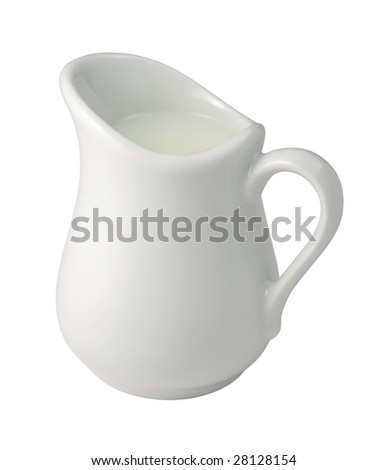 Cream in a Creamer isolated with a clipping path - stock photo