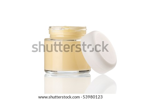 cream in the jar - stock photo