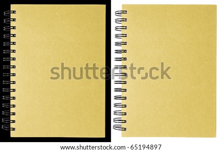 Cream notebook isolated on black and white